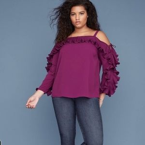 Lane Bryant 22 berry cold shoulder lace up sleeve